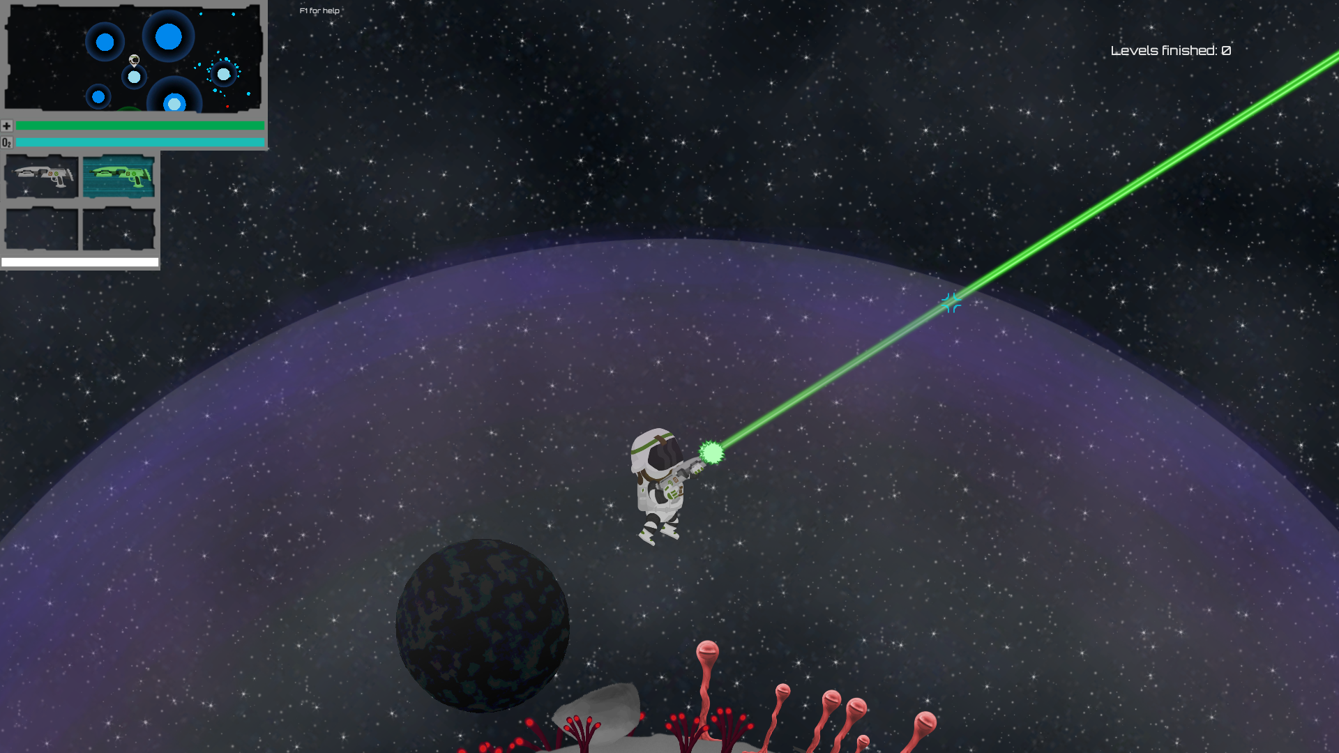 Orbit - Gameplay - Weapon: Laser gun, direct relationship between weapon pickup and factor of fun